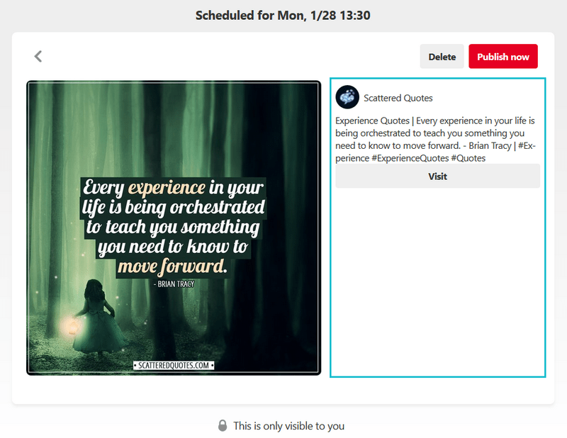 Pinterest: New scheduling features